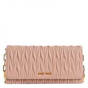 Miu Miu Matelassé Wallet with Shoulder Strap